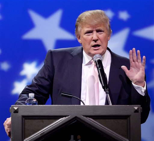 Donald Trump speaks to a crowd of 600 people during a gathering of Republican women's groups, Thursday, April 28, 2011, in Las Vegas. Trump's flirtation with a White House bid continued Thursday night with a lavish reception at the Treasure Island casino in Las Vegas.(AP Photo/Julie Jacobson)