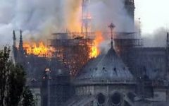 Fire sparks at Notre Dame Cathedral