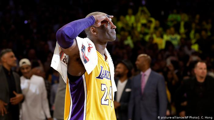 Kobe Bryant salutes to the fans in his last NBA game where he dropped 60 points in a !01-96 victory on April 13, 2016.  The Los Angeles Lakers played the Utah Jazz.