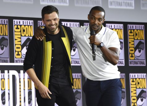 Sebastian Stan, left, and Anthony Mackie participate in the Marvel Studios panel on day three of Comic-Con International on Saturday, July 20, 2019, in San Diego. (Photo by Chris Pizzello/Invision/AP)