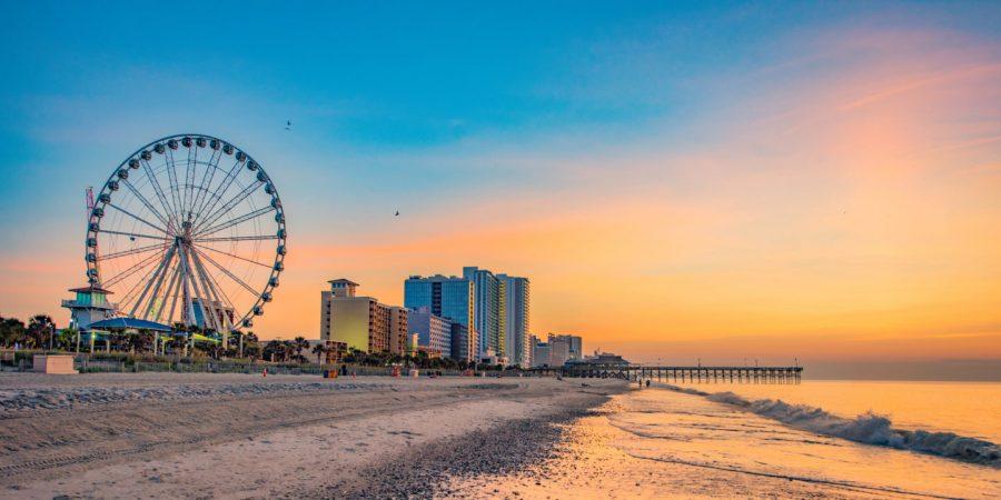 Sunrise over Myrtle Beach, South Carolina, USA.